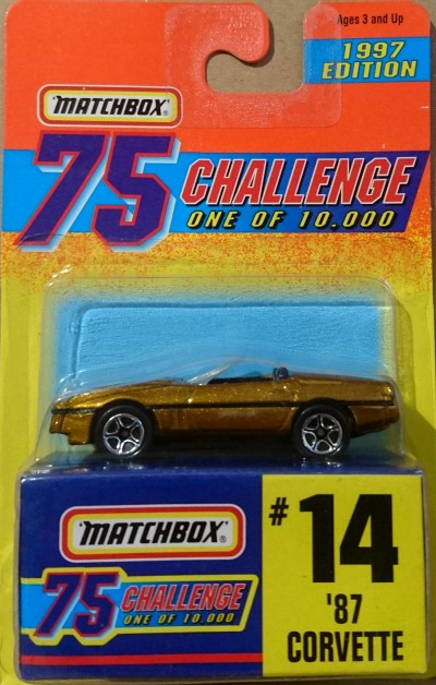 Matchbox 75 Challenge Gold Vehicle #14 '87 Corvette